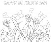 Printable mothers day flowers butterflies meadow coloring pages
