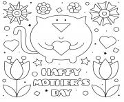 Printable mothers day cat flowers hearts coloring pages