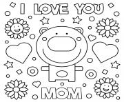 Printable mothers day i love you mom bear hearts flowers coloring pages