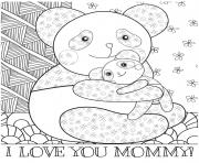 Printable mothers day panda mom baby cuddle coloring pages