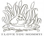 Printable mothers day duck duckling mommy coloring pages