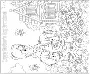 Printable mothers day grandmother girl boy hug flowers garden butterlies coloring pages