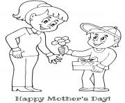 Printable mothers day mother son flower gift coloring pages