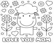 Printable mothers day sheep flowers hearts love you mom coloring pages