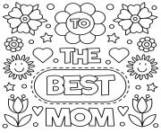 Printable mothers day to the best mom flowers sign coloring pages