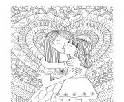 Printable mothers day mother daughter heart intricate doodle coloring pages