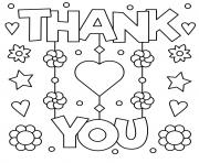 Printable mothers day thank you flowers stars hearts coloring pages