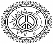 Sun & Moon Peace Sign to Color