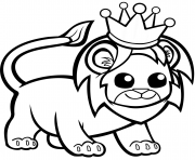 funny lion in a crown