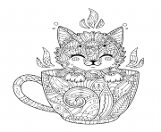 Printable little kitten in coffee cup for relaxation coloring pages