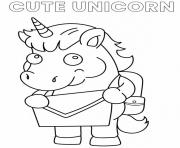 Printable Cute Unicorn Cartoon going to school coloring pages