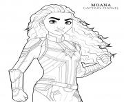 Printable captain marvel moana disney avengers coloring pages