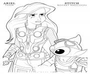 Printable thor ariel and rocket raccoon stitch disney avengers coloring pages
