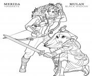 Printable hawkeye merida and black widow mulan disney avengers coloring pages