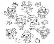 Printable animal crossing new horizons coloring pages