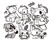 Printable little cute animal crossing coloring pages