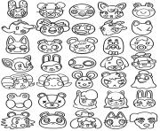 Printable animal crossing kawaii cute head coloring pages
