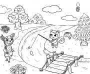 Printable animal crossing village fishing coloring pages