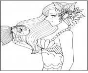 Printable Smart mermaid with a fish friend coloring pages