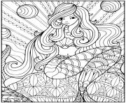 Printable Enchanting mermaid with lots of patterns coloring pages
