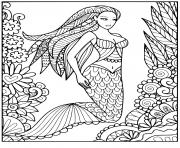 Printable mermaid beautiful hairs Lots of pretty patterns coloring pages
