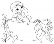 Printable Mermaid in a bathtub coloring pages