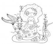Printable mermaid with lots of beautiful hair coloring pages