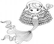 Printable Cute little mermaid with a long tail coloring pages