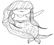 Printable Mermaid with long hair coloring pages