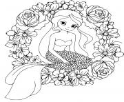 Printable Mermaid and wreath flowers mandala coloring pages