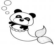 Printable panda mermaid coloring pages