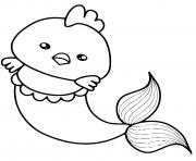 Printable funny mermaid chicken cute kawaii coloring pages