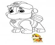 Printable Rubble the youngest member of the Paw Patrol coloring pages