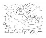 dinosaur cartoon brachiosaurus with flying dinosaur volcano