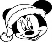 Minnie face with christmas hat