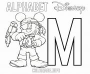Printable M for Mickey Mouse Pirate Disney coloring pages