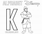 Printable K for Kristoff from Frozen coloring pages