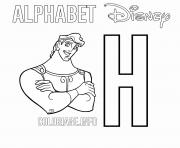 Printable H for Hercules coloring pages