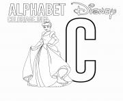 Printable C for Cinderella coloring pages