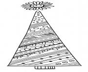 Printable Tall Christmas tree with decorative patterns coloring pages
