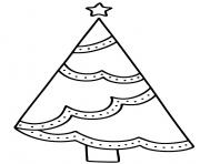 Printable Simple Xmas tree design with easy decorations to color coloring pages
