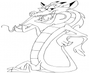 Printable mushu the little dragon coloring pages
